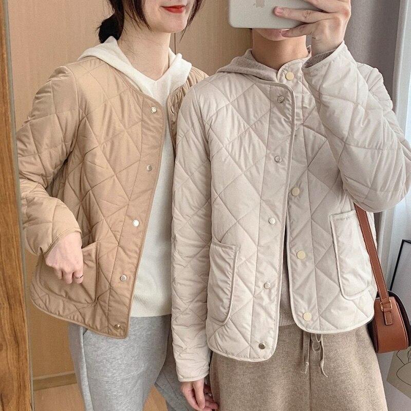 Универсальная легкая короткая куртка с ромбами без воротника, Женская свободная Весенняя Новинка 2021, стеганая куртка из хлопка