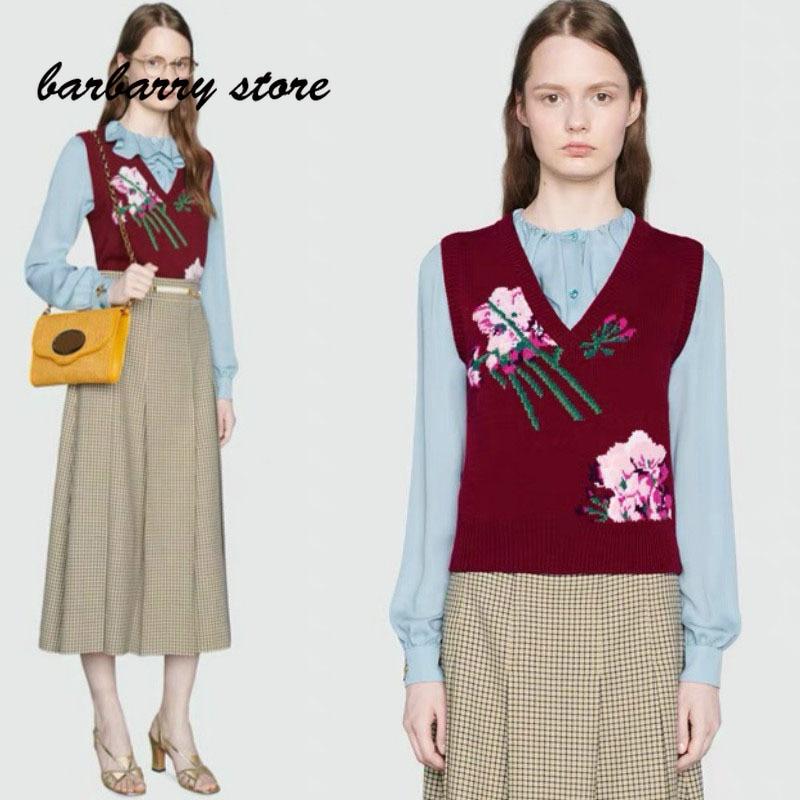 2021 luxury design flower hook embroidery fashion women's sleeveless top temperament versatile slim knit wool vest short sleeve