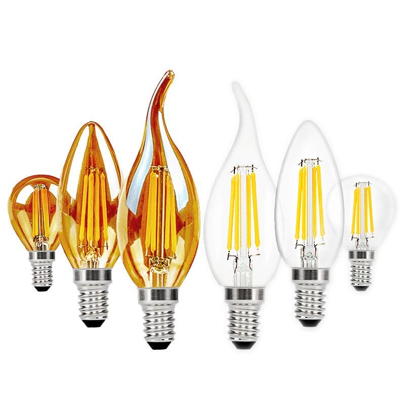 Bombilla de filamento LED E14 Retro, Edison, AC220V, E27, luces de vela...