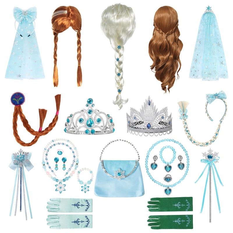 New Halloween Party Cosplay Costume Accessories Girls Anna Elsa Wig Braid Princess Crown Gloves Magi