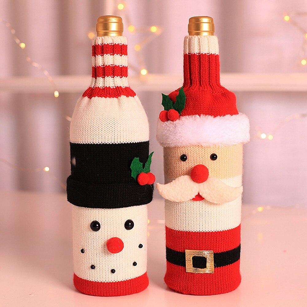 1 Pcs Christmas Snowman Wine Bottle Cover Set Santa Claus Bottle Sweater Snowman Xmas Home Party Ornament Table Decoration