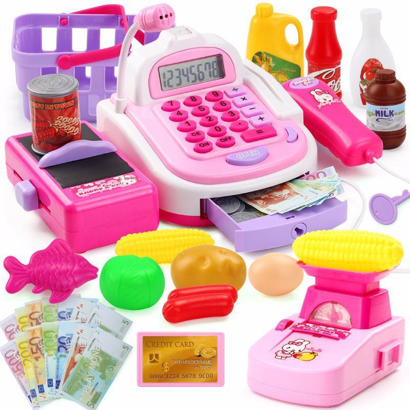 Fingir jogar casa crianças simulação supermercado caixa registradora elétrica versão atualizada com escala eletrônica brinquedos do jogo do miúdo