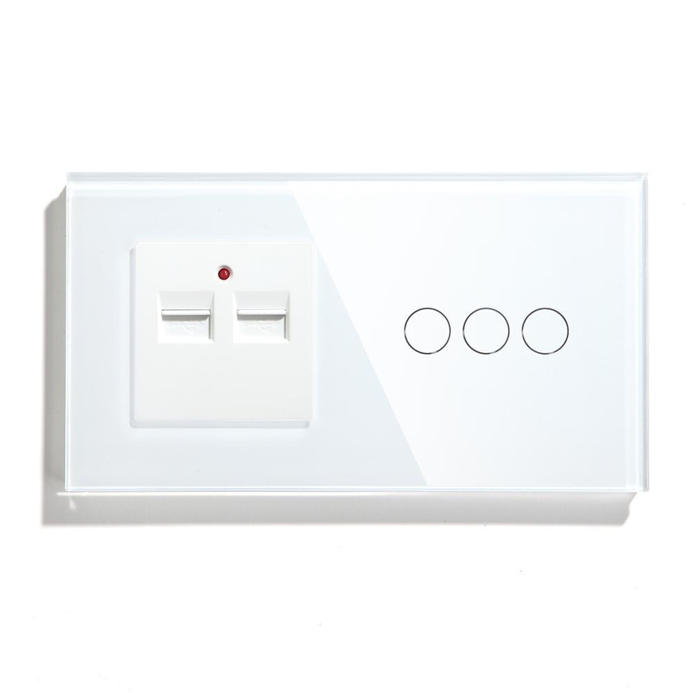 Bseed 3 عصابة 1 طريقة 2 طريقة الاتحاد الأوروبي لمس الحائط التبديل مع اثنين USB المقبس الأسود الأبيض الذهبي اللون مع الكريستال لوحة 157 مللي متر