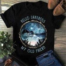 Hippie Forest Hello Darkness My Old Friend 남성용 블랙 코튼 티셔츠 S 5XL 쿨 캐주얼 자부심 T 셔츠 유니섹스 New Design Tshirt
