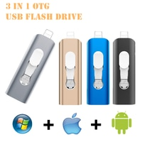 Флеш-накопитель для iphone12/11/X/9/8/7/6/Φ USB 128 16 ГБ 32 ГБ 64 ГБ 3 в 1 OTG usb флеш-накопитель для lightning/micro USB/компьютера ГБ