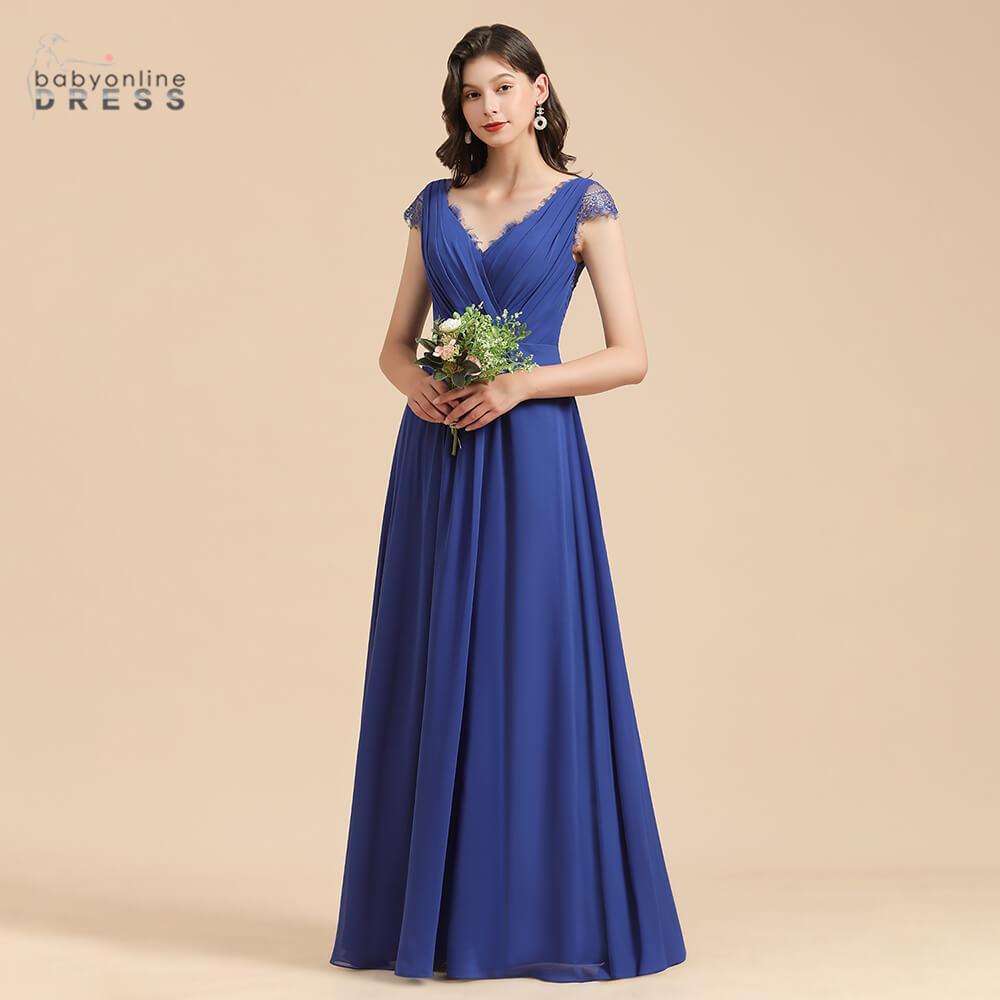 Babyonlinedress 50 Colors Cap Sleeves Bridesmaid Dresses Long Sexy Backlace Lace Wedding Guest Dresses vestido de fiesta de недорого