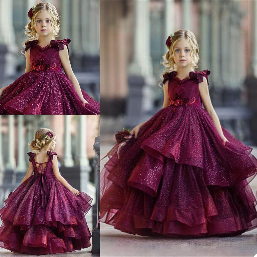 Новинка, Бургундия, прекрасный Платье в цветочек для девочек с кружевной аппликацией; Детская праздничная одежда с низким вырезом на спине ...