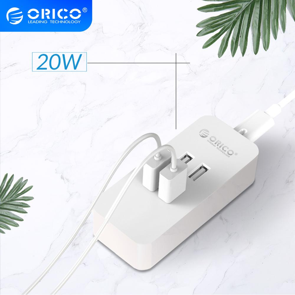 Смарт-зарядное устройство ORICO Mini, 4 порта, USB зарядное устройство 5V2.4A * 4, макс. Выход 20 Вт, настольное зарядное устройство для путешествий, офиса, дома, зарядка, USB устройство