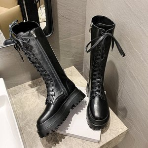 Sneakers Fashion Chunky Platform Boots Women Autumn Winter Thick Bottom Long Boots Woman Black PU Leather Knee High boots