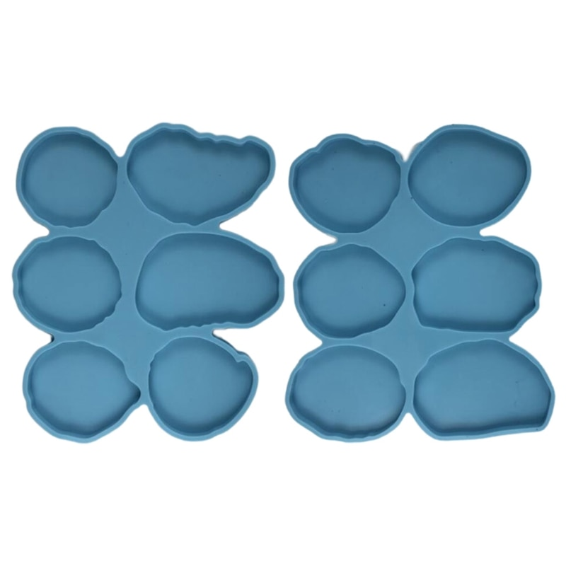2 Pcs Epoxy Resin Mold DIY Crafts Soap Plaster Wax Making Tool Handmade 6 Irregular Round Casting Silicone Mould nicole silicone soap mold rectangle white liner mould for handmade making tool