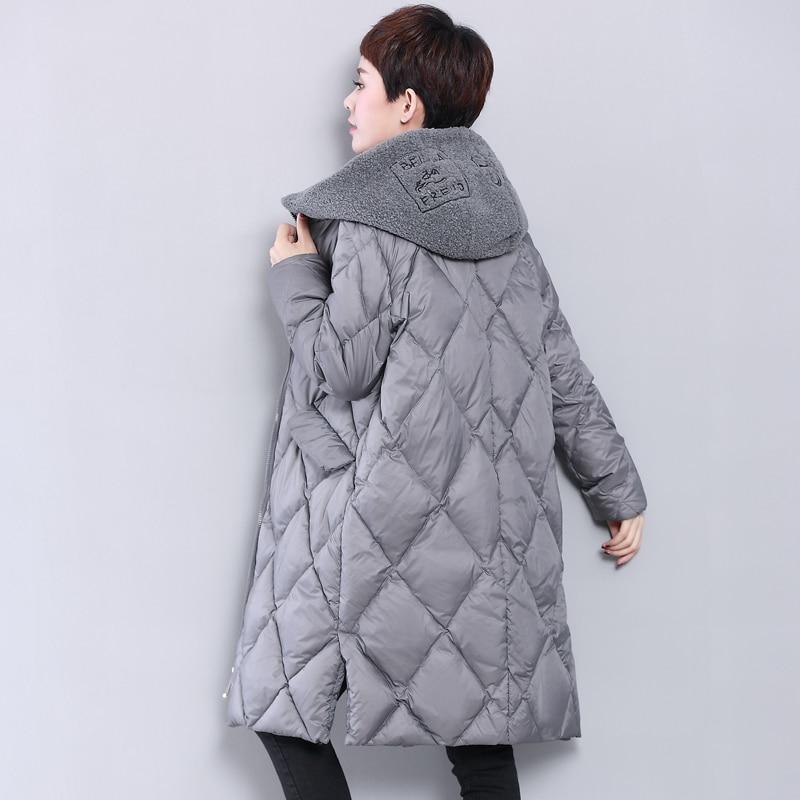 Chaqueta de plumas para Mujer, abrigo largo con capucha, abrigo de invierno para Mujer, cuello de piel de cordero Artificial, Parka, abrigos coreanos, Chaqueta para Mujer MY1499