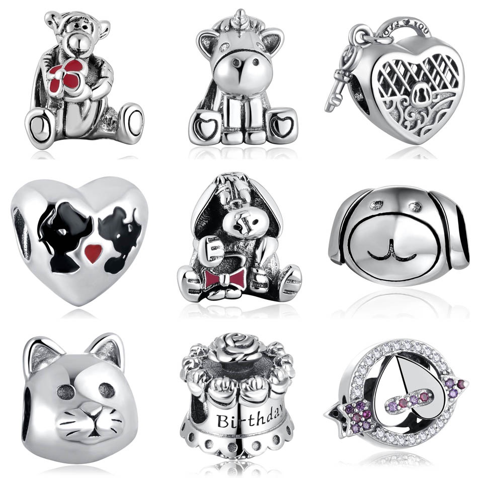 Authentic S925  Bead Unicorn Tiger Donkey Kissing Mouse Cat Dog Birthday Cake Lock Charms fit Pandora Bracelets