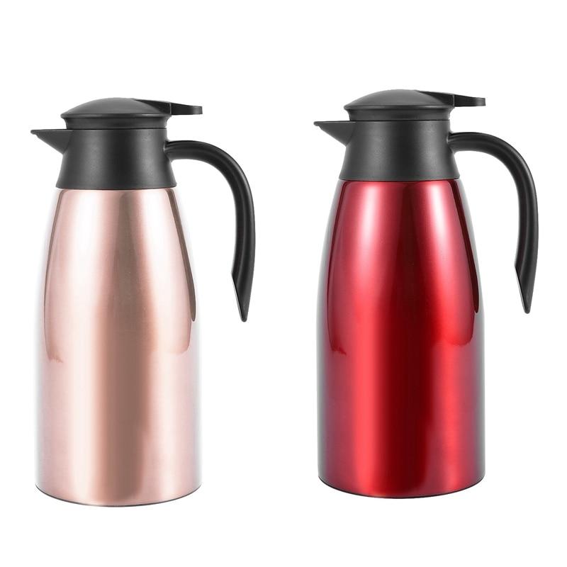 2 قطعة 304 الفولاذ المقاوم للصدأ 2L قارورة حرارية فراغ معزول براد مياه الشاي القهوة إبريق الحليب الحرارية ، ارتفع الذهب والأحمر
