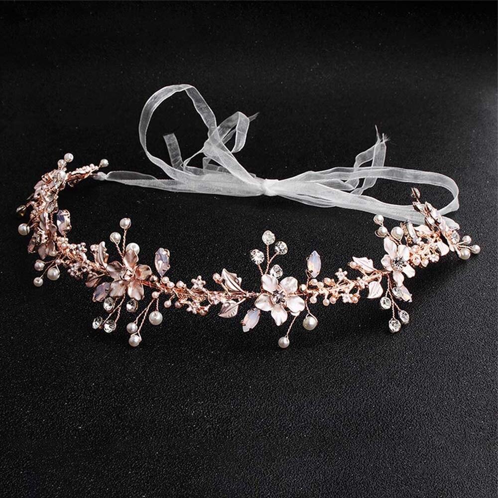 Diadema de oro rosa con perlas de imitación, diadema con flores de cristal, diademas hechas a mano, diademas, ornamentos de boda para el cabello