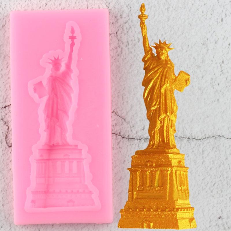 Sugarcraft Estatua de la libertad moldes de silicona para decoración de pasteles herramientas pastel Borde de pasta de azúcar molde caramelo arcilla Chocolate gumpasta moldes