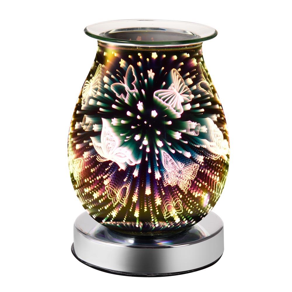 Aroma elétrico cera derreter queimador de incenso 3d toque lâmpada fogo de artifício noite luz tart aromaterapia difusor cera aquecedor reino unido/ue plug decoração