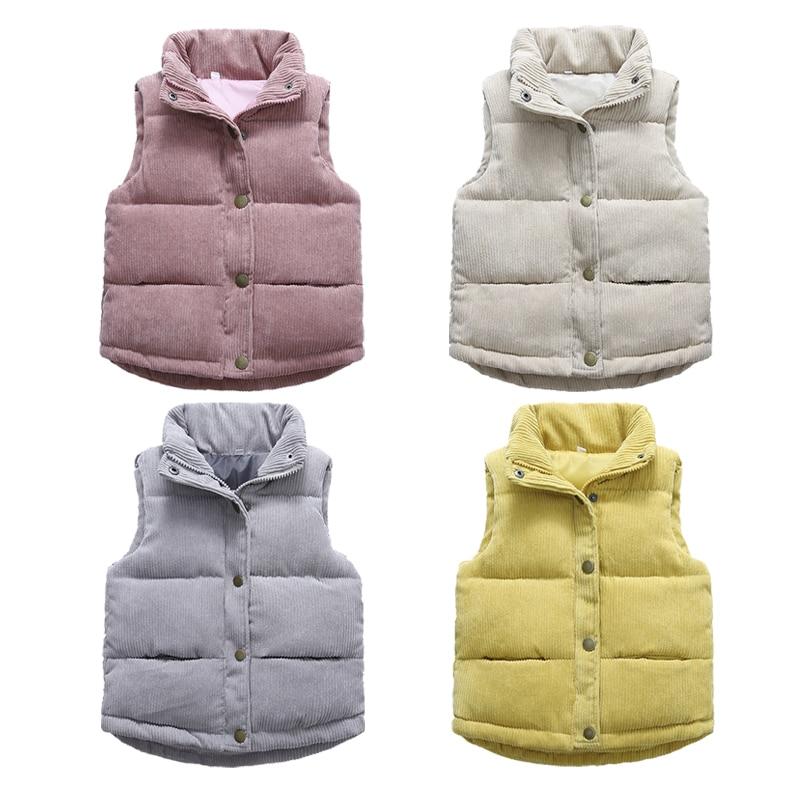 2020 Autumn Girls Warm Vest Winter Boys Thicken Waistcoat Kids Outerwear Vest Children Teens Cotton