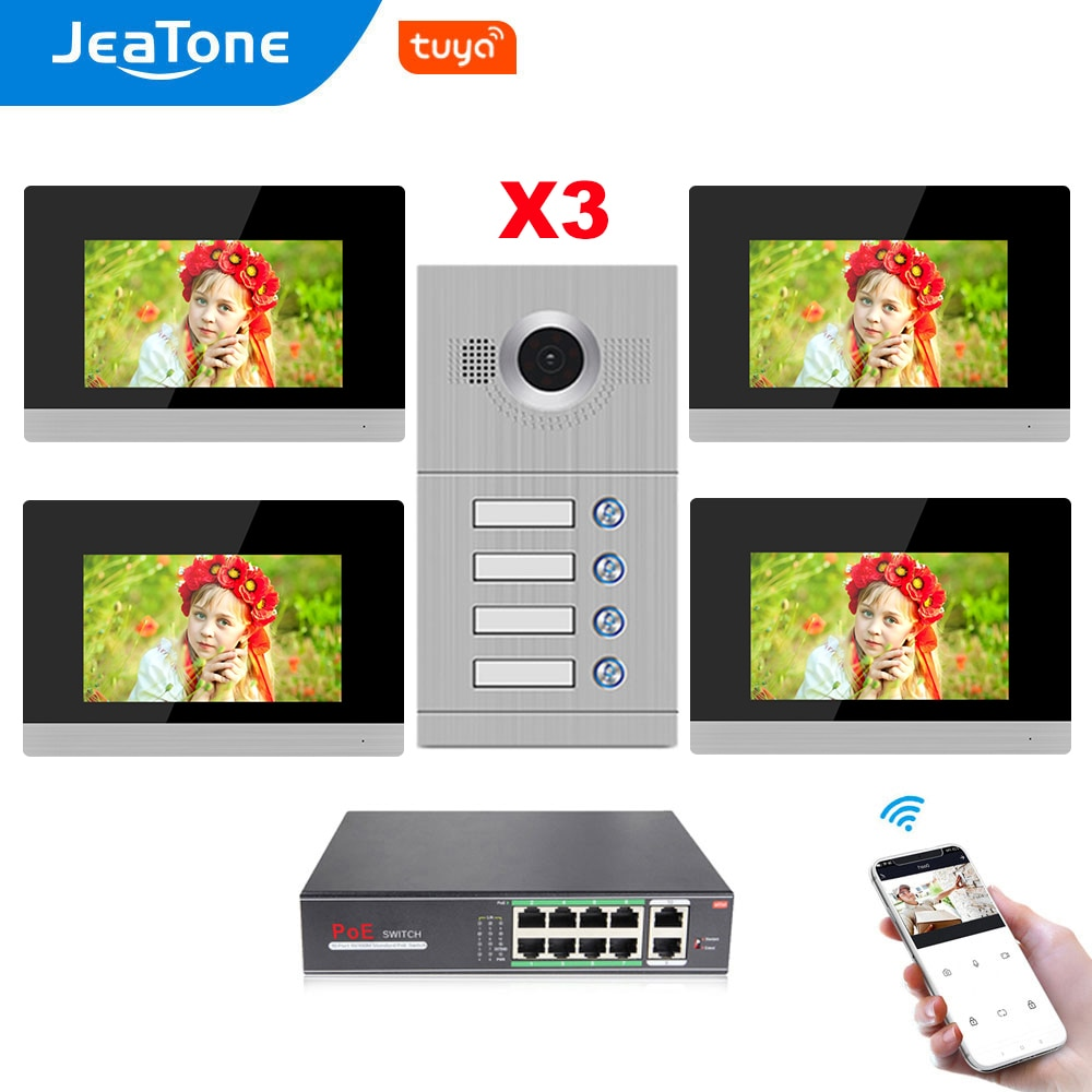 Jeatone WiFi Tuya Video Door Phone System 7''Touch Screen Monitor for 4 Separate Apartments Support Gas/Smoke/Water Alarm Sensor