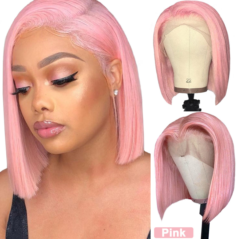 Colored Short Bob Yellow Red Blue Orange Pink Purple Lace Front Virgin Human Hair Wigs 180 Density