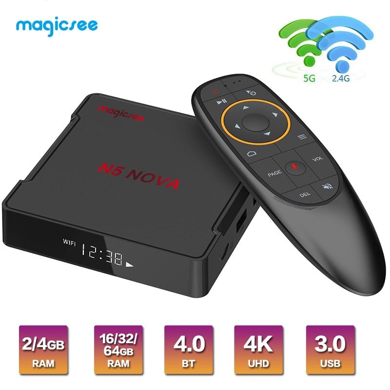 Magicsee N5 NOVA Android TV Box Support Google Play Rockchip3318 Android 9.0 4G RAM 64G ROM 2.4G&5GHz WiFi BT4.0 4K smart tv box