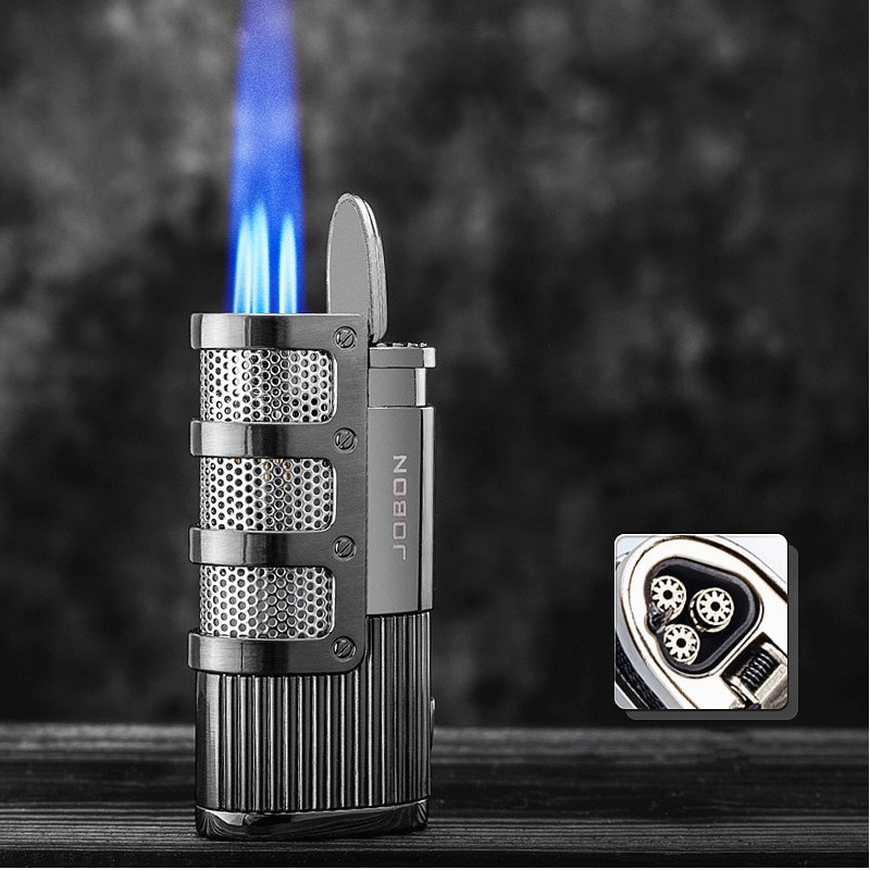Unusual Metal Triple Torch Lighter Jet Turbo Butane Gas Lighter Windproof Cigar Smoking Accessory Lighter Men's Gift Gadget
