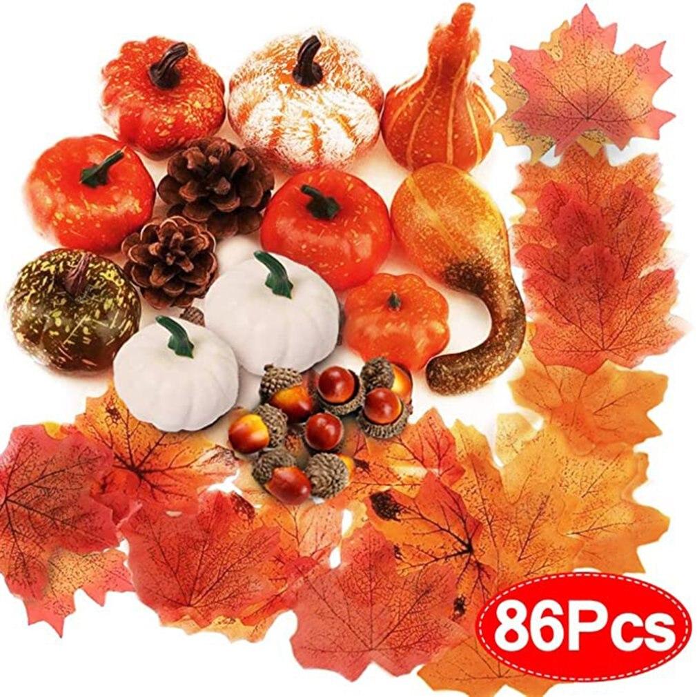 86 Uds calabazas artificiales decoración de otoño conjunto Halloween Mini calabazas falsas conos de pino Hojas de arce bellotas granada