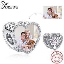 Forewe 2020 novo 925 prata esterlina árvore da família grânulo caber pandora encantos originais pulseira personalizado foto diy jóias femininas