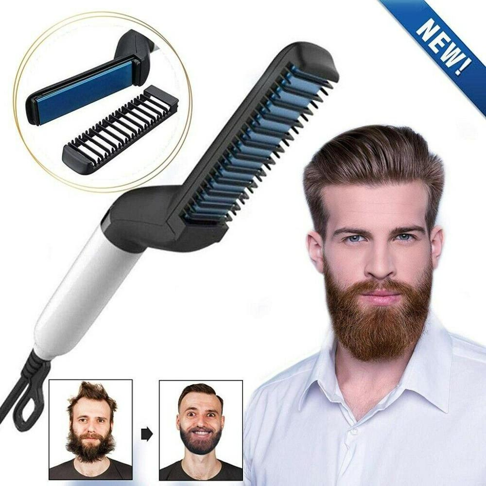 Electric Hair Comb Brush Quick Beard Straightener Men's Hair Straightening Flat Iron Heated Hair Comb Show Cap Styler for Men