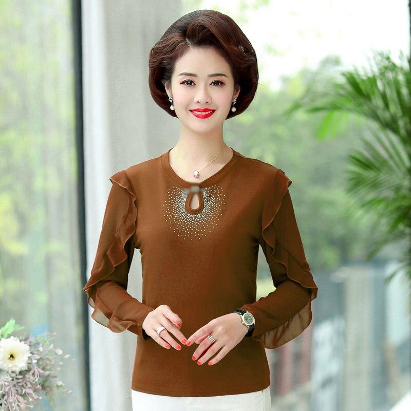Blusa de lentejuelas de otoño para mujer, blusas de diseño de Hallow color caramelo negro rojo verde, blusas de manga larga con cuello redondo para mujer 2020