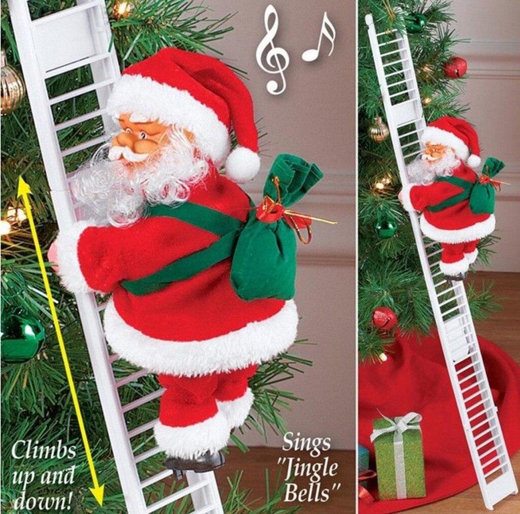 1 pçs papai noel escalada escada elétrica papai noel boneca árvore de natal pendurado ornamento ao ar livre decoração da parede da porta interior