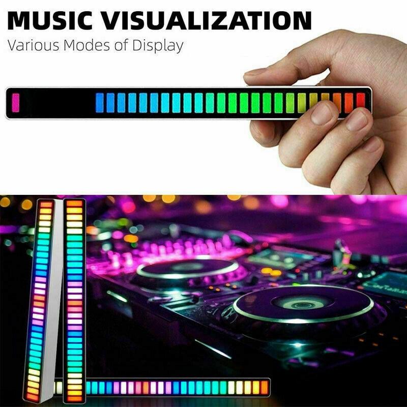 RGB пикап, ритмичный окружающий свет, цветное управление звуком, окружасветильник с 32-битным индикатором уровня музыки, автомобильный Настол...