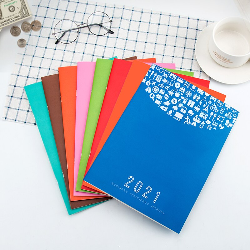 2021 Calendar Multi-function Notepad Everyday Work Weekly Plan Pu Cover Schedule Book Monthly Plan Memo Office A4 Notebook