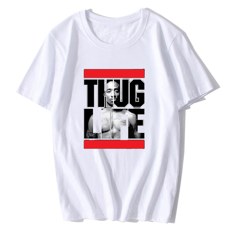 Camiseta de verano para hombre Tupac 2pac Thug Life Rap Hip-Hop Artist Tupac Shakur Camiseta cuello redondo música Rock camiseta