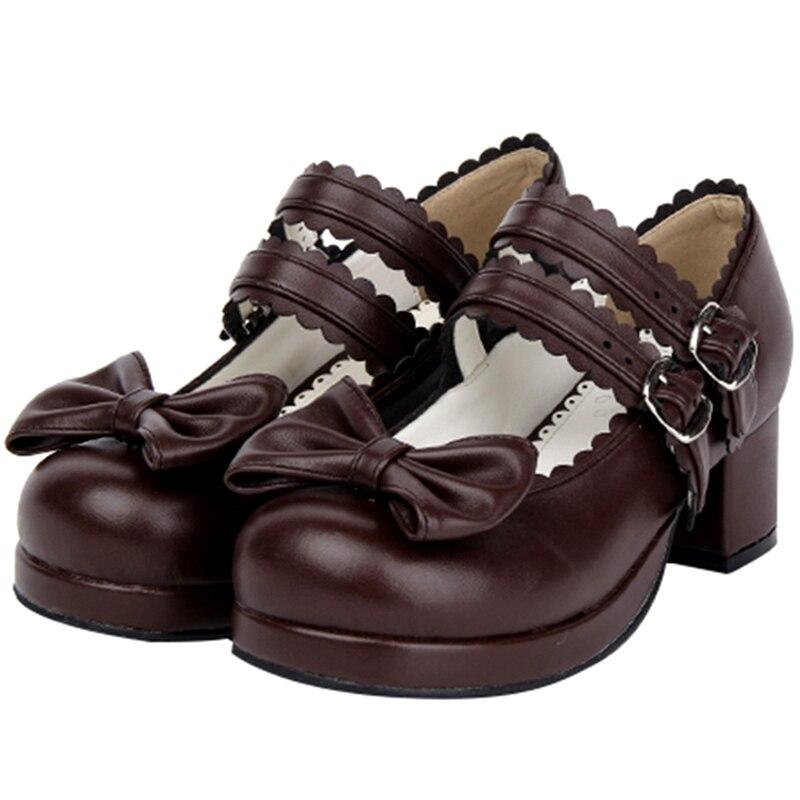 اليابانية جولة تو لوليتا أحذية فتاة kawaii حزام vintage رئيس مستديرة الدانتيل bowknot كوس الأميرة أحذية عالية الكعب تأثيري 3-5 سنتيمتر