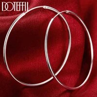 doteffil 100 925 sterling silver hoop earring 50mm round circle loop gifts simple smooth big earrings for women jewelry