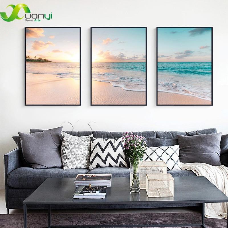 3 Панели, холст искусства Закат, морской волны, картина для спальни, домашний декор, вид на море, настенная живопись, печать на холсте, без рам...