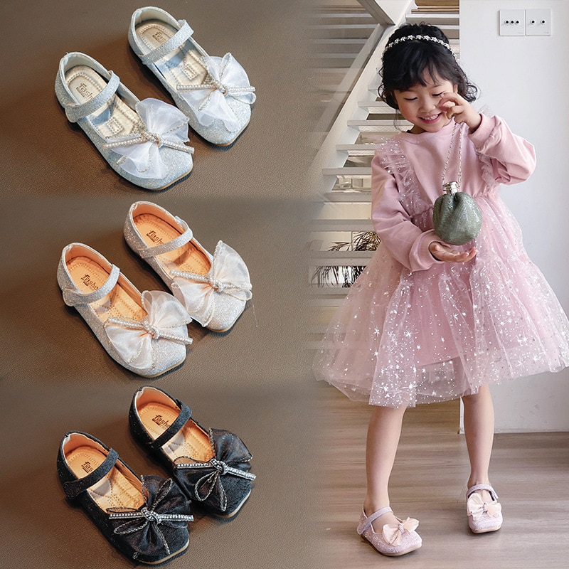 Spring autumn new children's casual shoes girls princess bow solid color Peas shoes non-slip shoes for kids