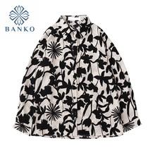 New Streetwear Floral Print Long Sleeve Blouses Women 2021 Summer Casual Beach Loose Turn-down Colla