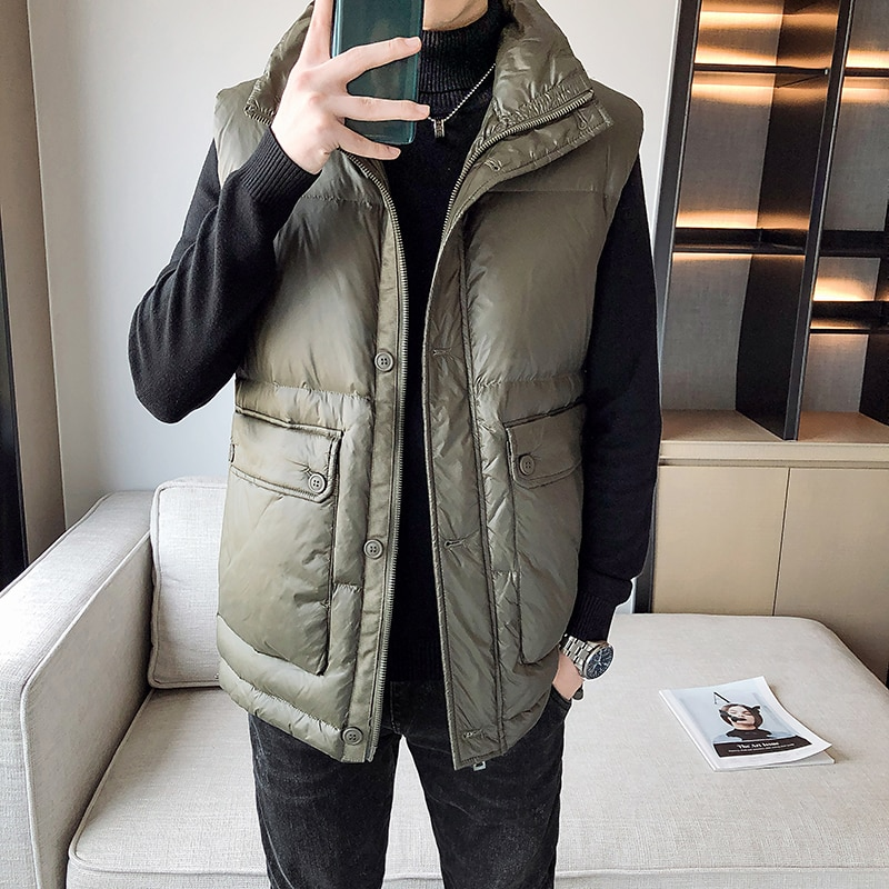 British Style Mens 85% Duck Down Vest Winter Fashion Casual Sleeveless Jacket Men's Big Pocket Waistcoat Youth Clothes winter new style ladies stand up collar lightweight down vest casual style down vest women s big pocket fashion solid color vest