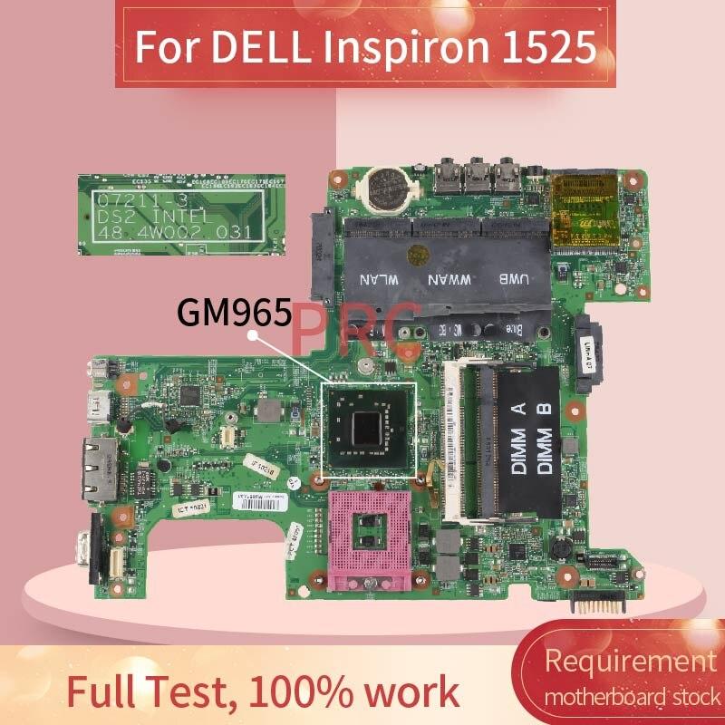 Para dell inspiron 1525 notebook mainboard 07211-3 gm965 ddr2 computador portátil placa-mãe