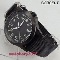 42mm corgeut black dial luminous mark Sapphire glass miyota automatic mens watch
