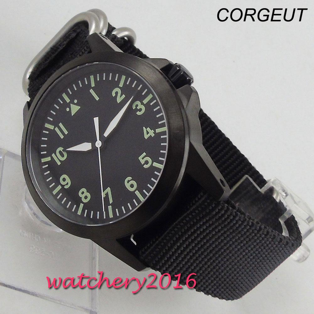 Reloj Automático para hombre, de cristal de zafiro, marca luminosa corgeut negra, de 42mm