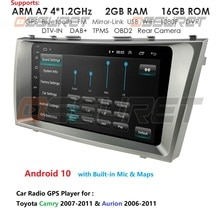 """2Din Android 10 samochodowy odtwarzacz multimedialny nawigacja samochodowa gps dla Toyota Camry Aurion 2007-2011 9 """"radio samochodowe nawigacja lustro Link jednostka główna DAB"""