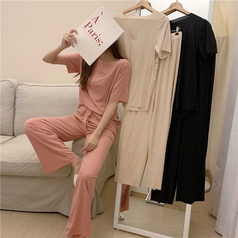 High-Grade Satin Casual Pants Suit Women's Summer Loose Short Sleeves T-shirt + Wide-Leg Trousers Tw