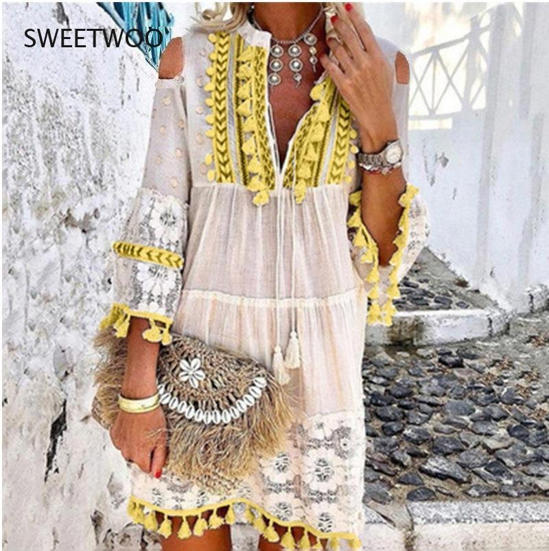 huti summer lace dress elegant sleeveless ruffles vintage lace mini dress sexy v neck hollow out women bodycon party dresses Fashion Hollow Out Off Shoulder Sexy Dress Summer Lace Tassel Cotton Linen Vintage Dress Elegant V-Neck Solid Mini Party Dresses