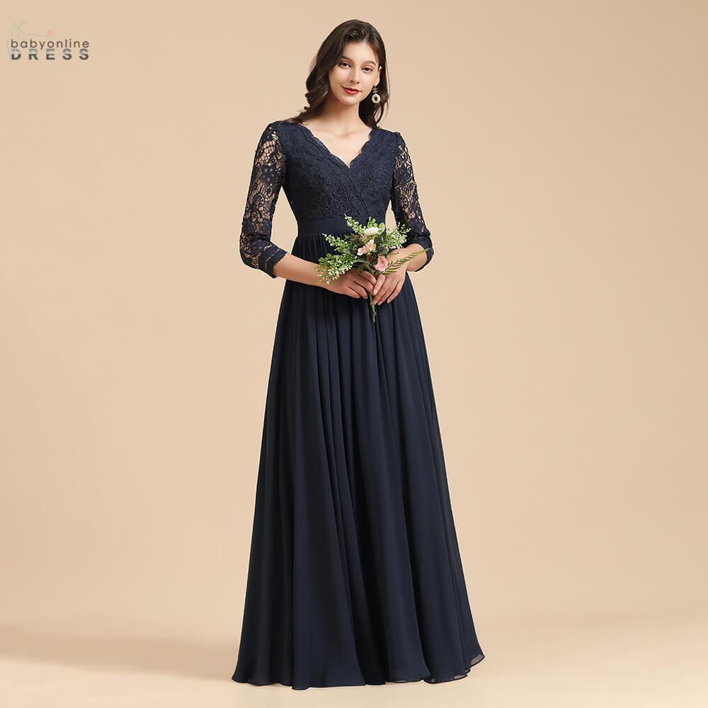 Babyonlinedress 50 Colors Chiffon Lace Bridesmaid Dresses Long Quarter Sleeve Wedding Guest Dresses Pleated vestido de fiesta de недорого