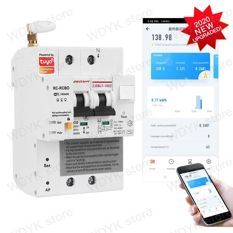 2P تويا WIFI التحكم عن بعد تسرب الحالي حماية قاطع الدائرة الطاقة الرصد مع اليكسا جوجل المنزل للمنزل الذكي