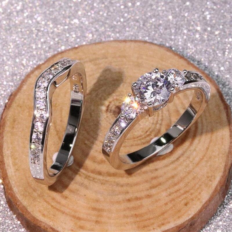 Anillos de circón de moda para mujer, anillo de boda de Color...