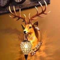 vintage resin deer wall lamp nordic retro antlers wall lights living room bedroom bedside lamp wall sconce lamp indoor decor