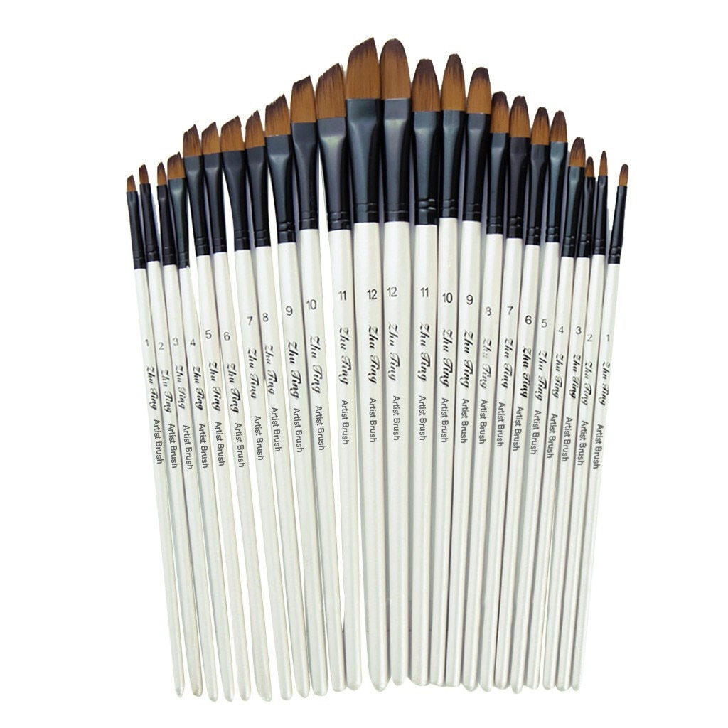12 Artist Watercolor Painting Brushes Paint Brush For Nylon Paint Brushes Oil Acrylic Flat&tip Kit P